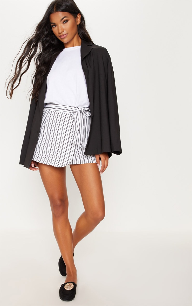 Monochrome Stripe Side Tie Skort 5
