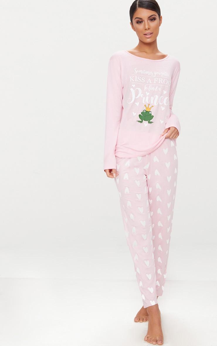 Pink Long Sleeve Frog Prince Valentines PJ Set  1