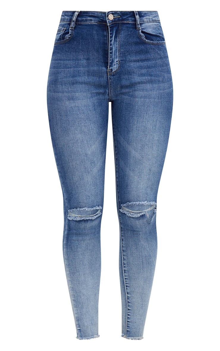 Mid Wash High Waisted Knee Rip Skinny Jean 3