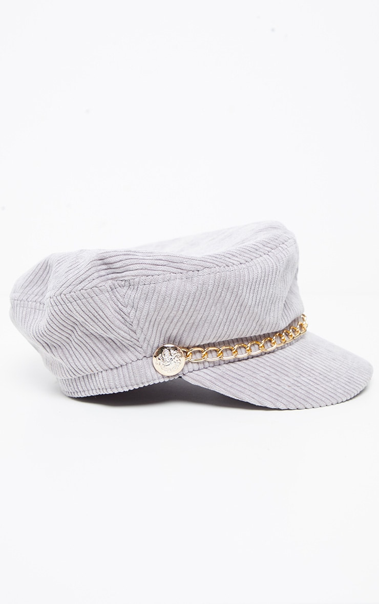 Grey Cord Baker Boy With Gold Chain Detail 3