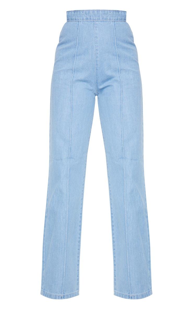 Petite Light Wash Wide Leg Jeans 5