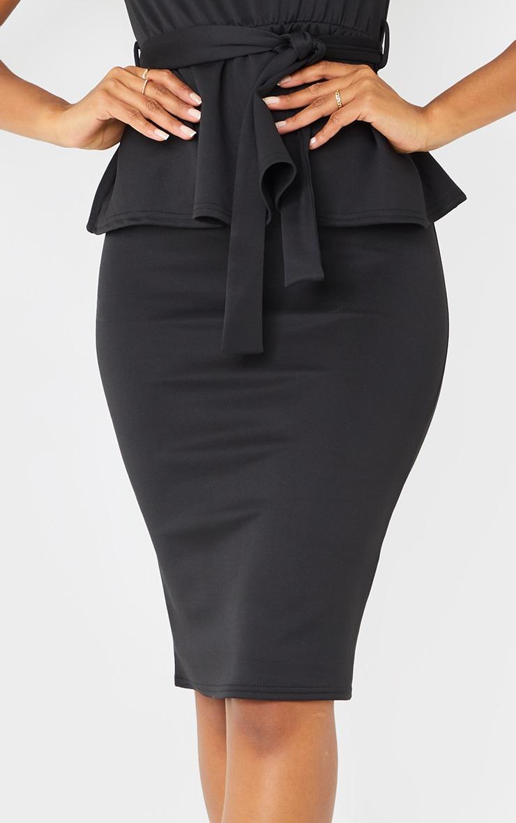 Black High Neck Tie Waist Peplum Midi Dress 4