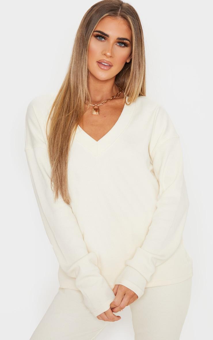 Cream Thick Rib V Neck Oversized Sweater 1