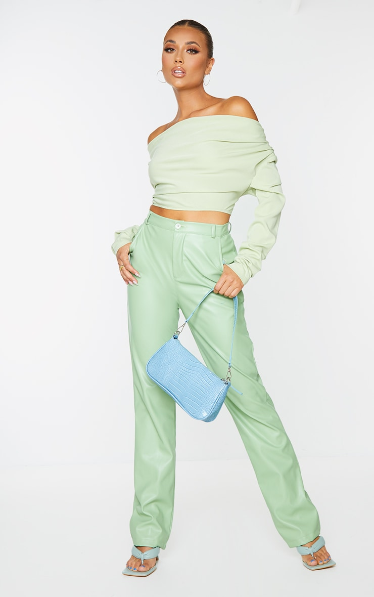 Sage Green Woven Draped Front Long Sleeve Cropped Shirt 3