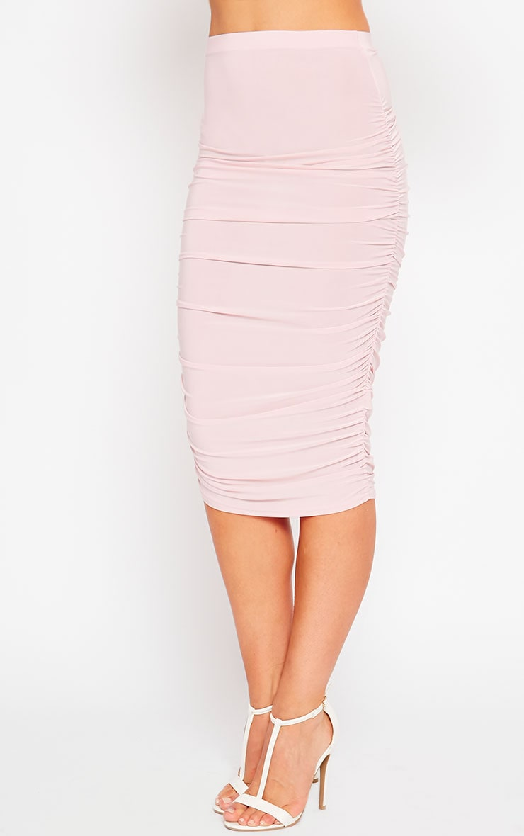 Saylor Baby Pink Slinky Gathered Midi Skirt 3