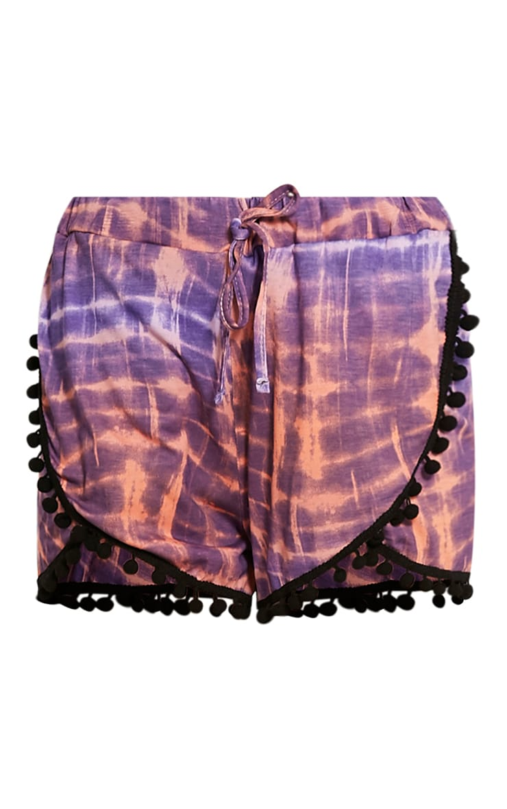 Alice Purple Tie Dye Pom Pom Shorts 3