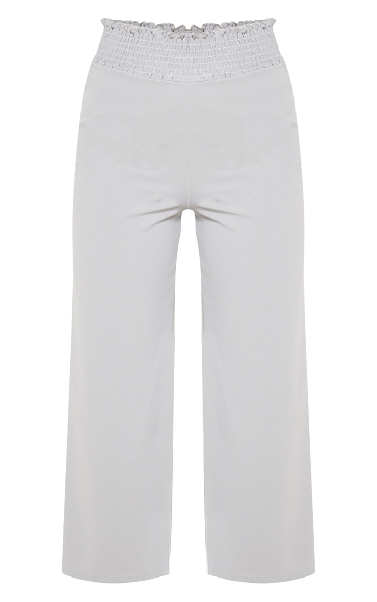 Grey Crepe Shirred Waist Wide Leg Culotte 3