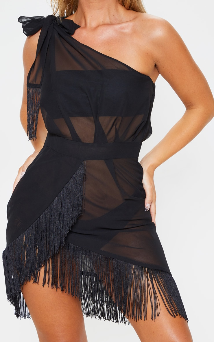 Black Asymmetric Fringe Beach Dress 5