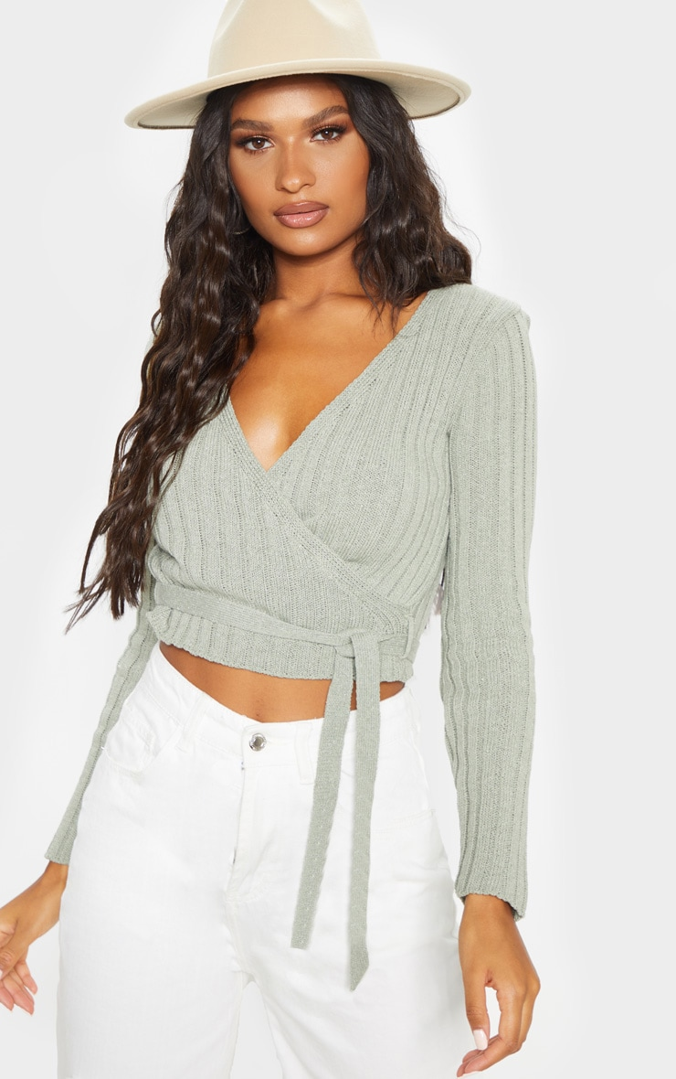 Sage Ribbed Knit Wrap Front Top  1