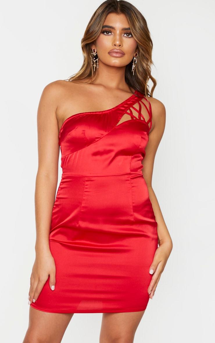 Robe moulante satinée rouge à bretelle unique lacée 1