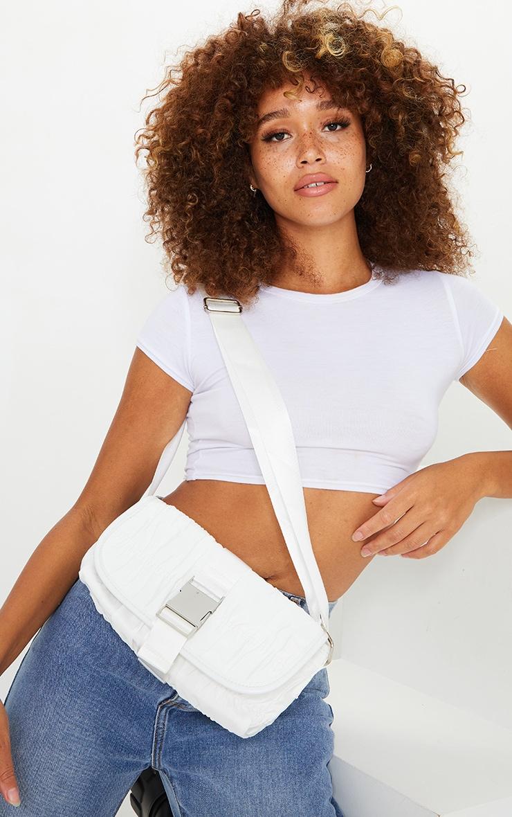 White Front Buckle Ruched Shoulder Bag 1