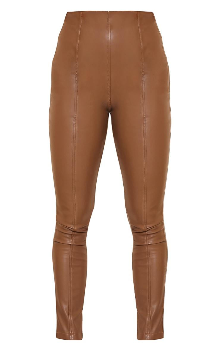 Petite Chocolate Faux Leather Stretch Leggings 5