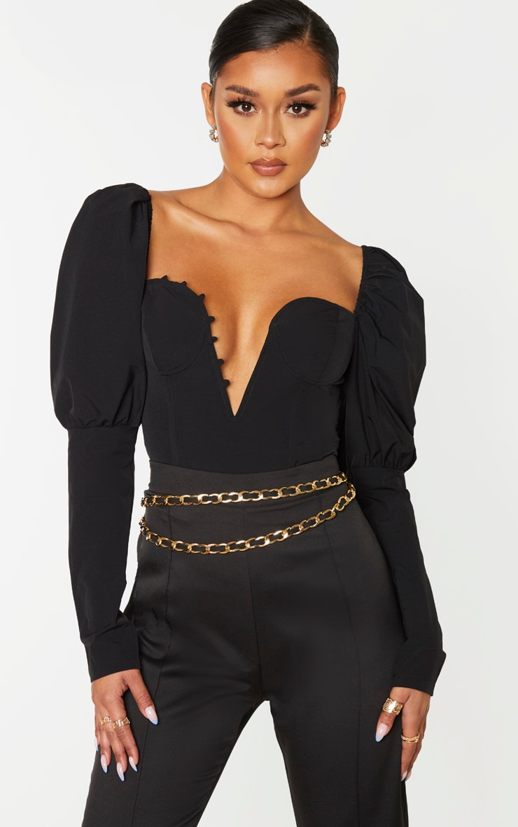 Black Woven Puff Sleeve Button Loop Detail Crop Top 1
