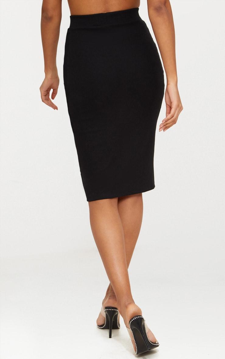 Black Second Skin Bodycon Midi Skirt 4