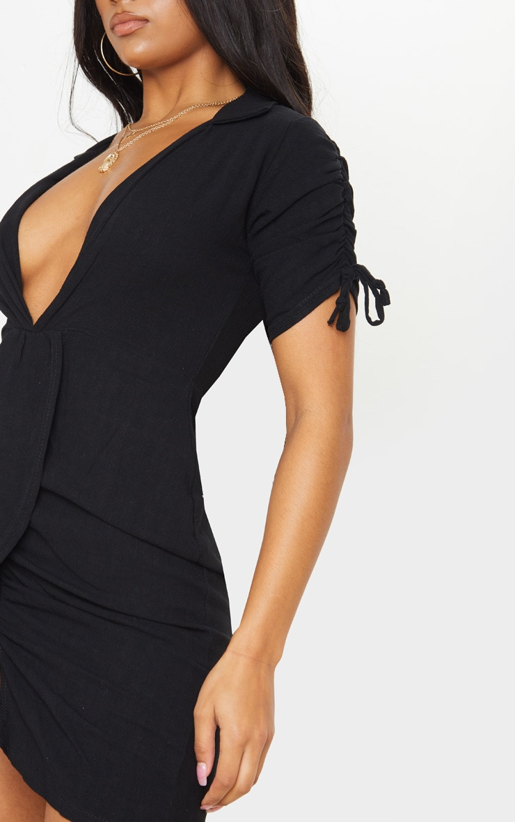 Black Linen Ruched Sleeve Deep Plunge Bodycon Dress 4