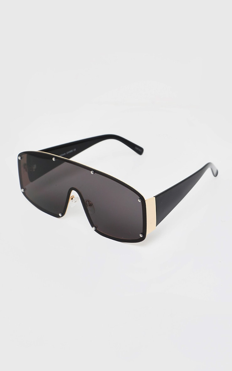 Black With Gold Stud Square Frame Sunglasses 2