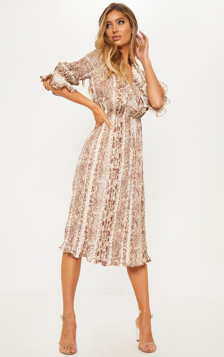 Brown Snake Print Frill Detail Pleated Midi Dress image 1 74a0a20ec