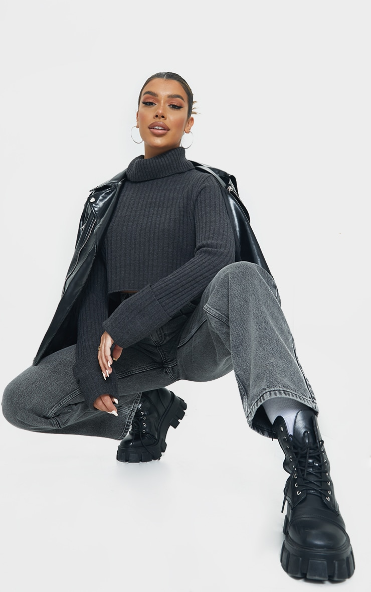 Charcoal Roll Neck Turn Back Sleeve Cropped Sweater 3