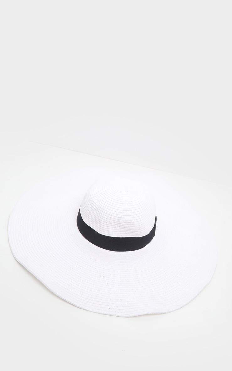 White Large Ribbon Detail Sun Hat 2