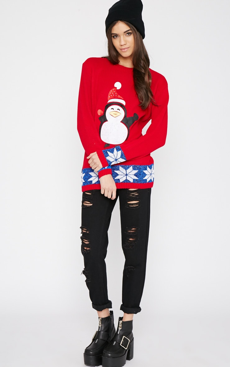 Gabriel Red Penguin Christmas Jumper 3