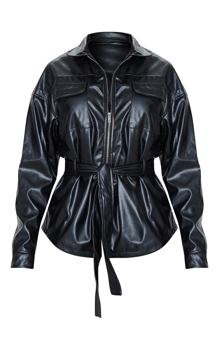 Tall Black Faux Leather Belt Detail Jacket 3