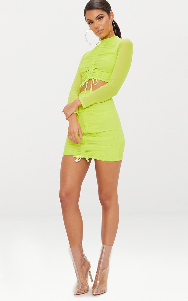 Lime Mesh Ruched Front Long Sleeve Crop Top 4