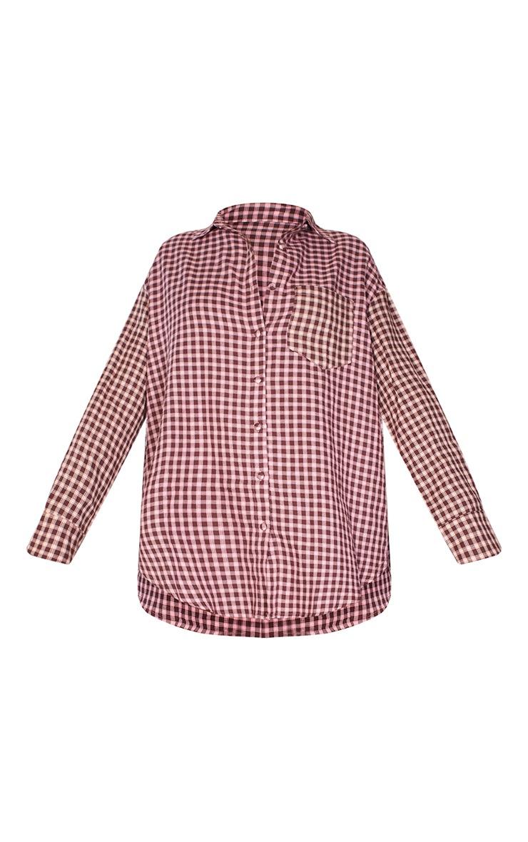 Pink Contrast Check Shirt Dress 5