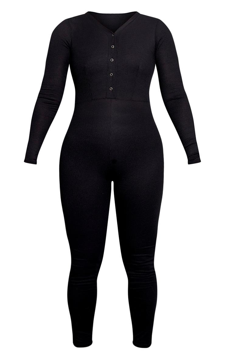 Plus Black Rib Popper Detail Long Sleeve Jumpsuit 3