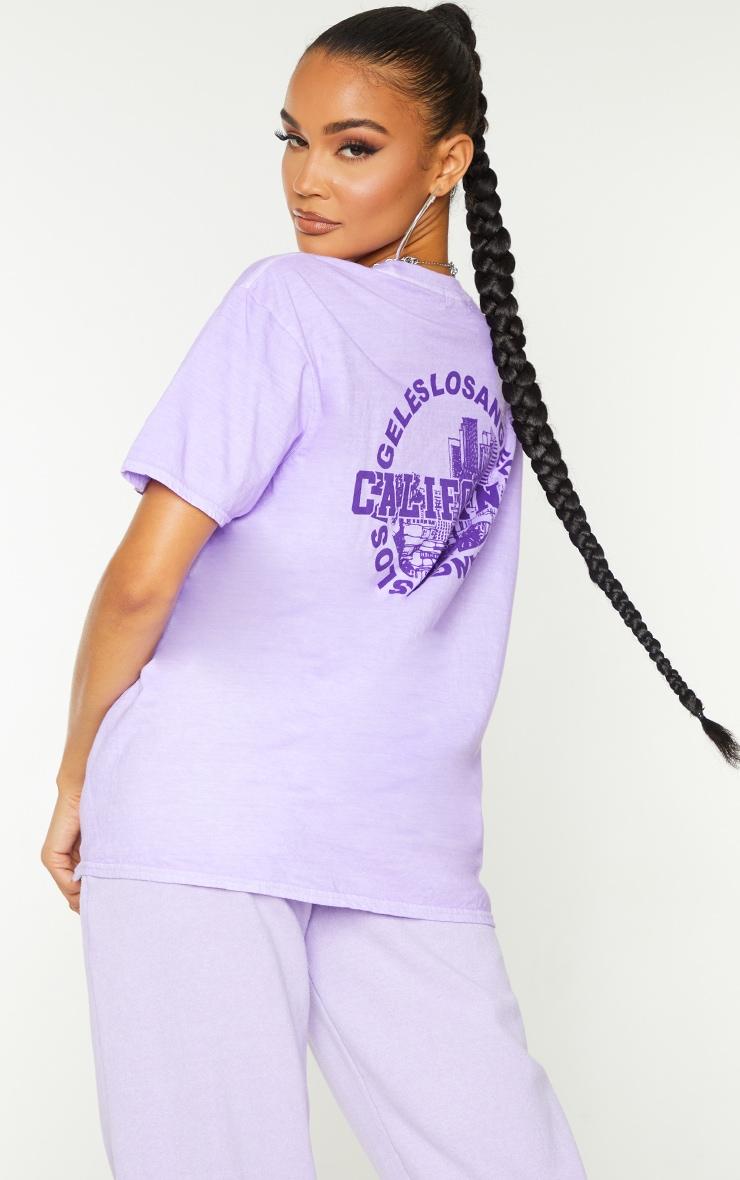 Lilac Los Angeles California Back Print Short Sleeve Washed T Shirt