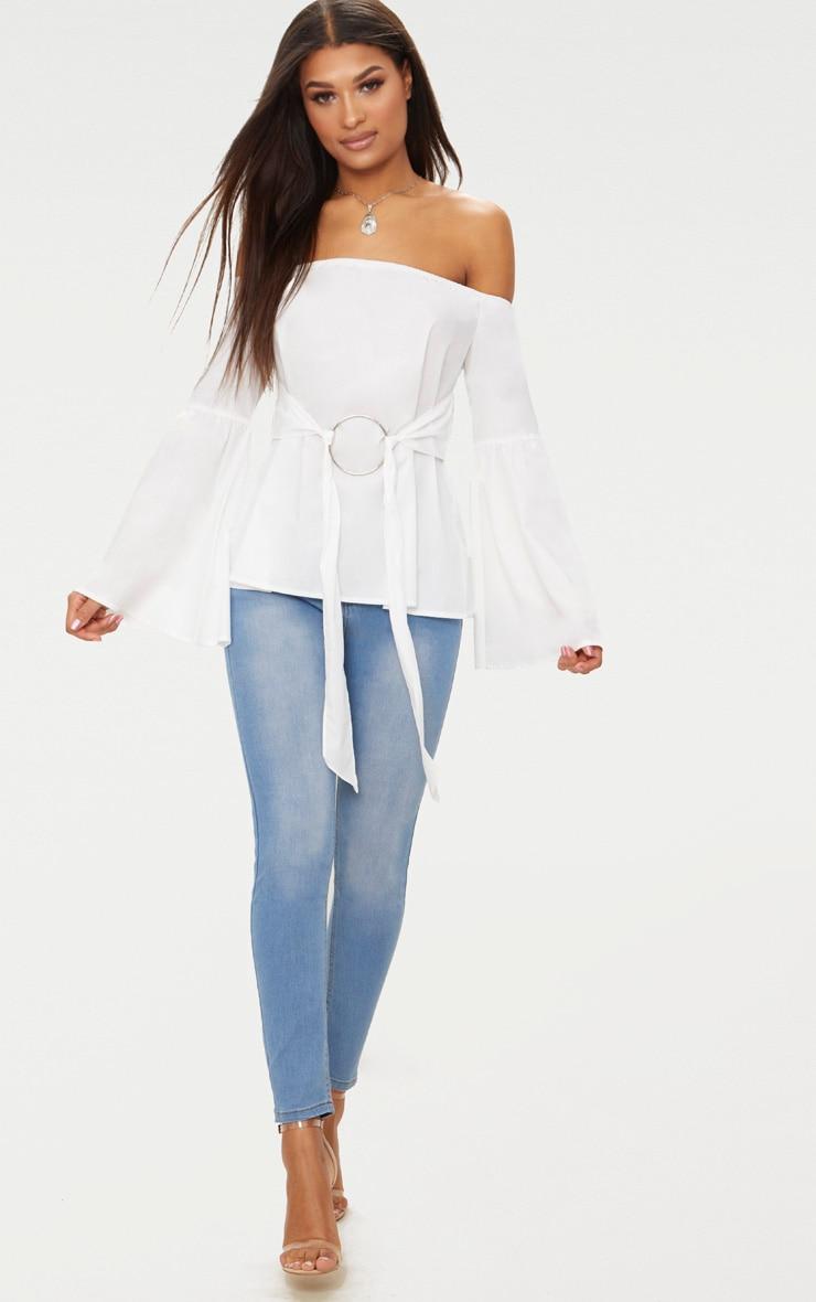 White Bardot O Ring Shirt  4