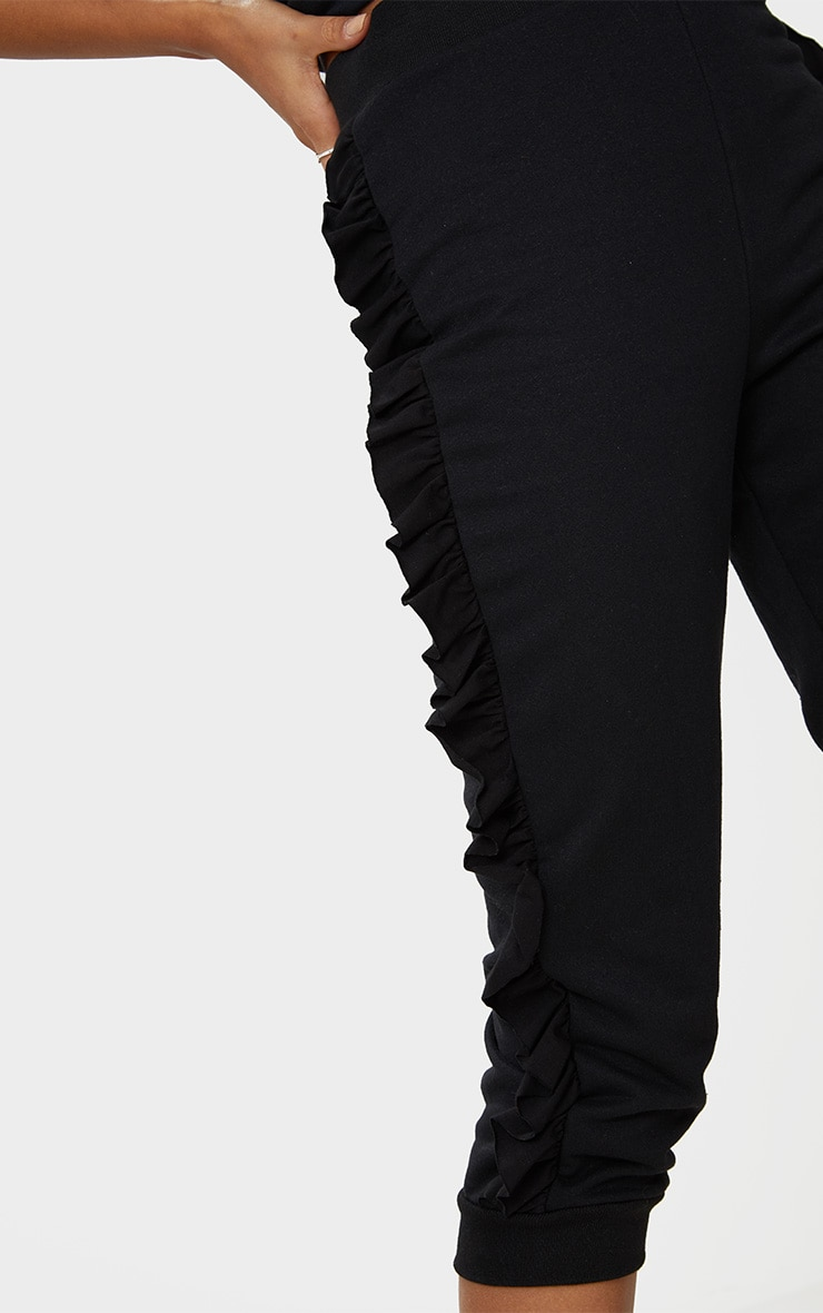 Black Cropped Side Frill Joggers 5