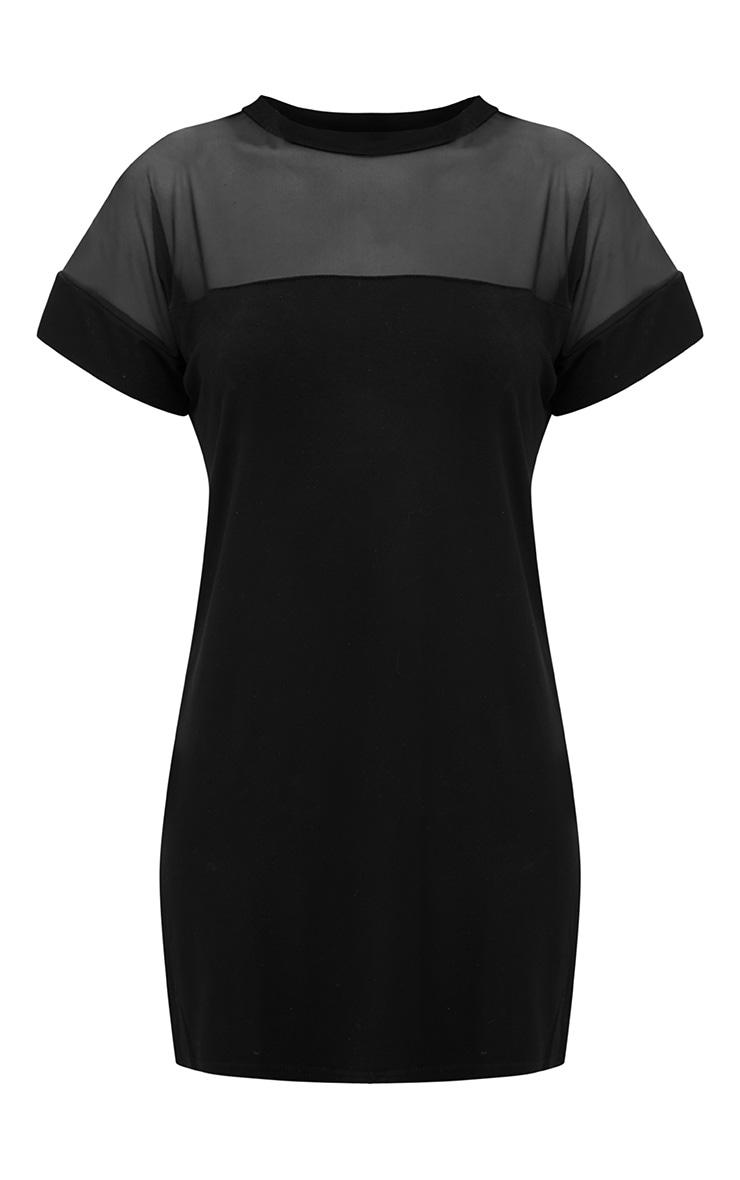 Black Jersey & Mesh T Shirt Dress 3
