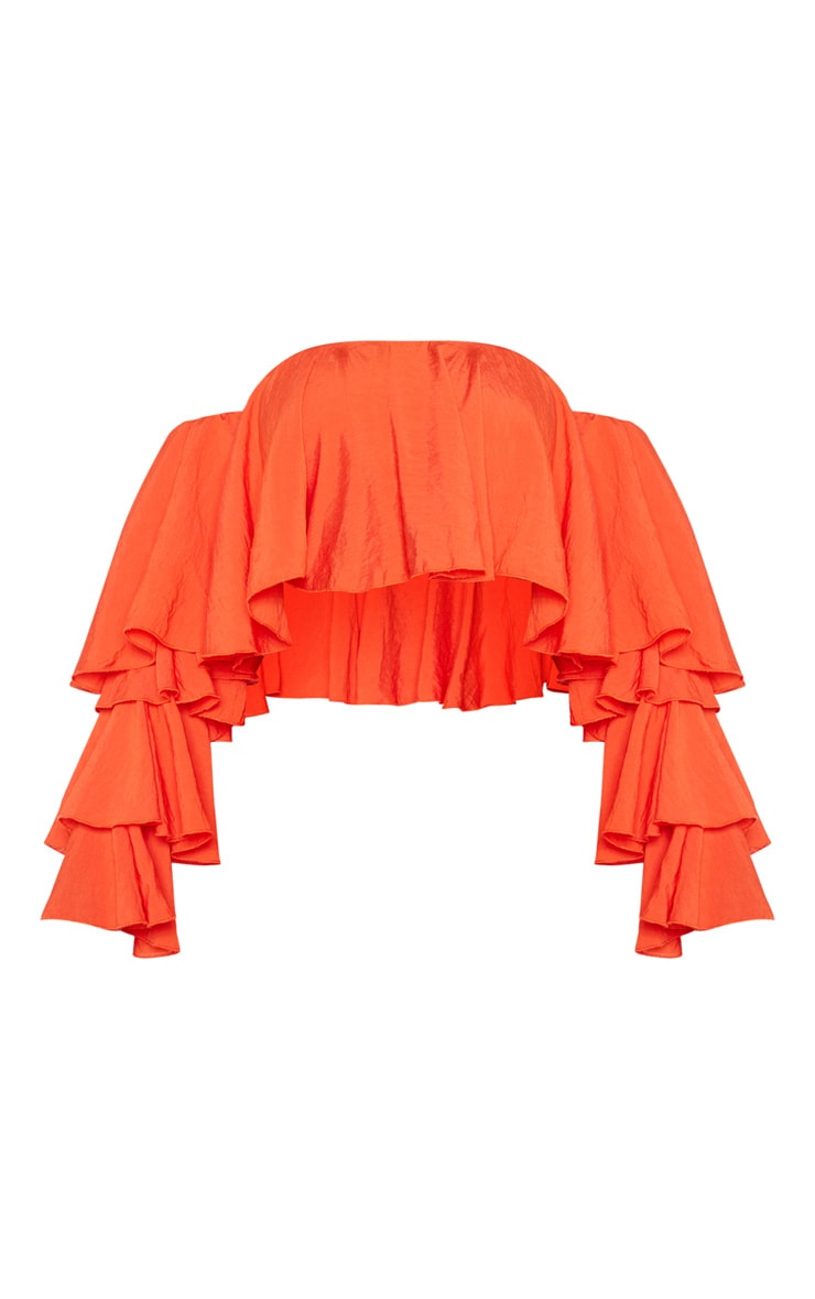 Bright Orange Woven Bardot Tiered Sleeve Crop Top 3