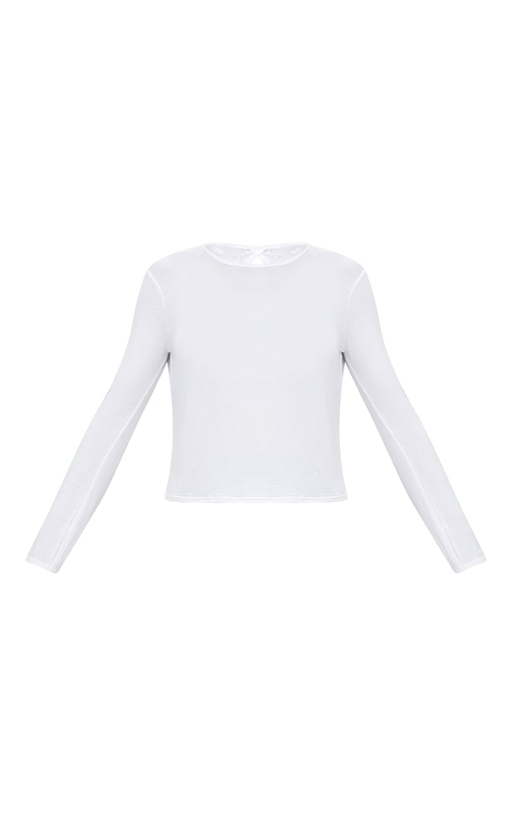 White Jersey Long Sleeve Open Back Detail T Shirt 3