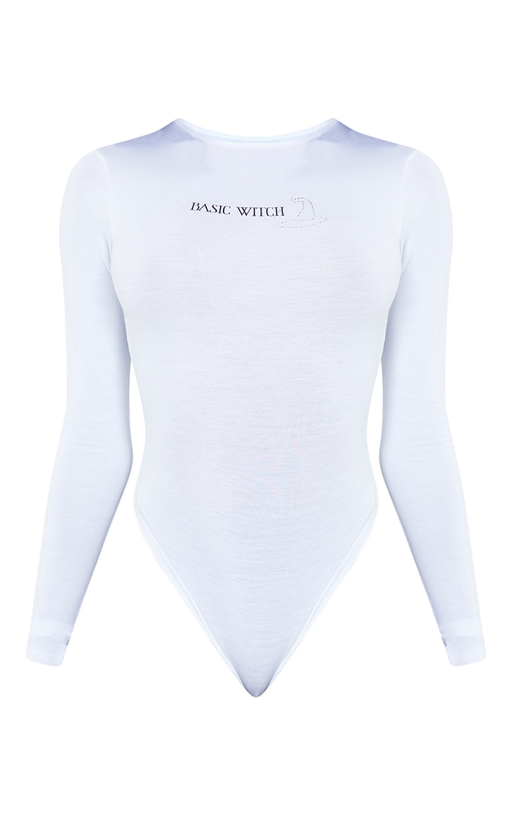 Tall White Long Sleeve Basic Witch Bodysuit 5