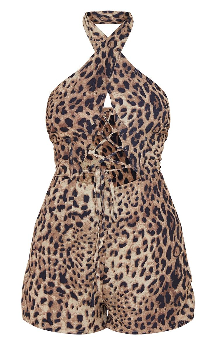 Tan Leopard Print Lace Up Plunge Romper 5