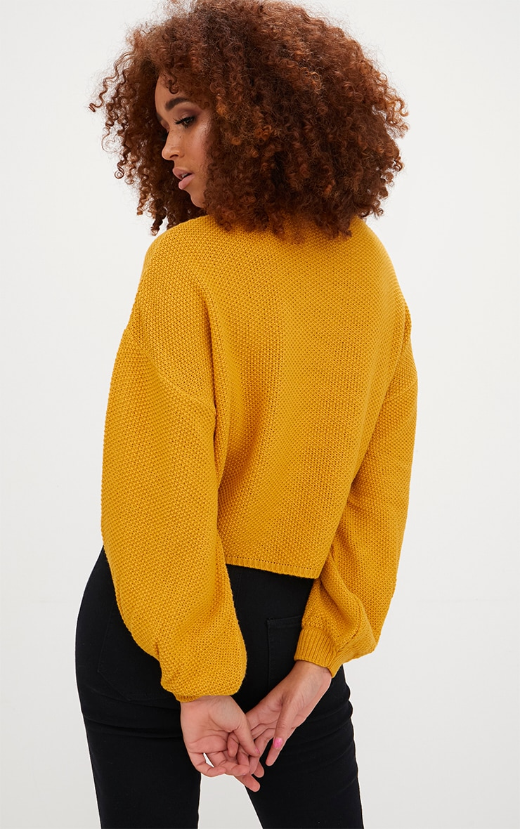 Mustard Balloon Sleeve Knitted Jumper 2