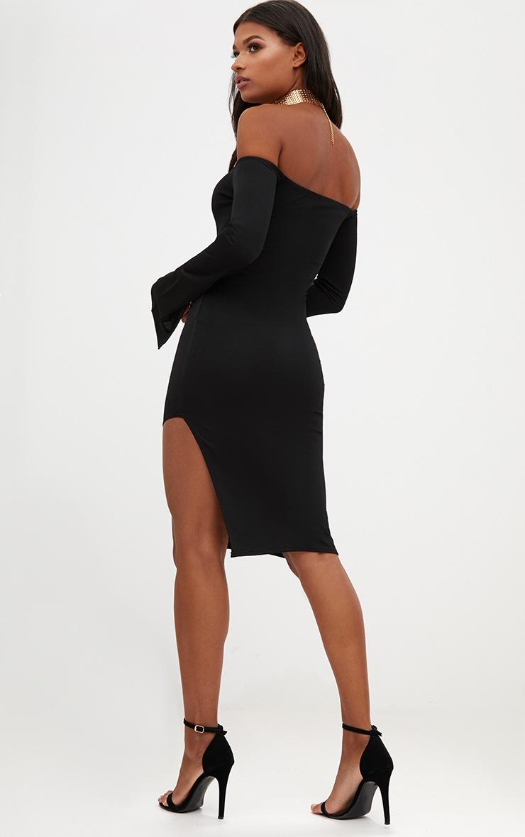 Black Bardot Split Sleeve Detail Midi Dress 2
