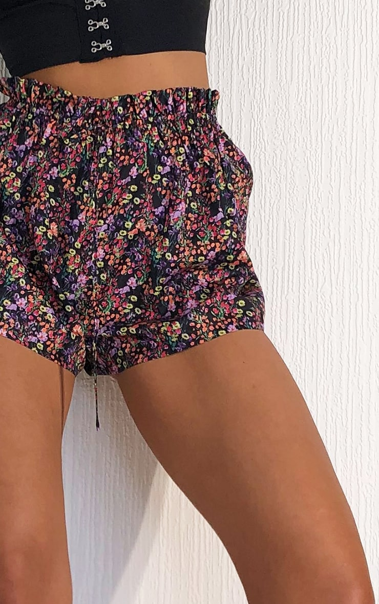 Black Ditsy Floral Woven Tie Waist Shorts 5
