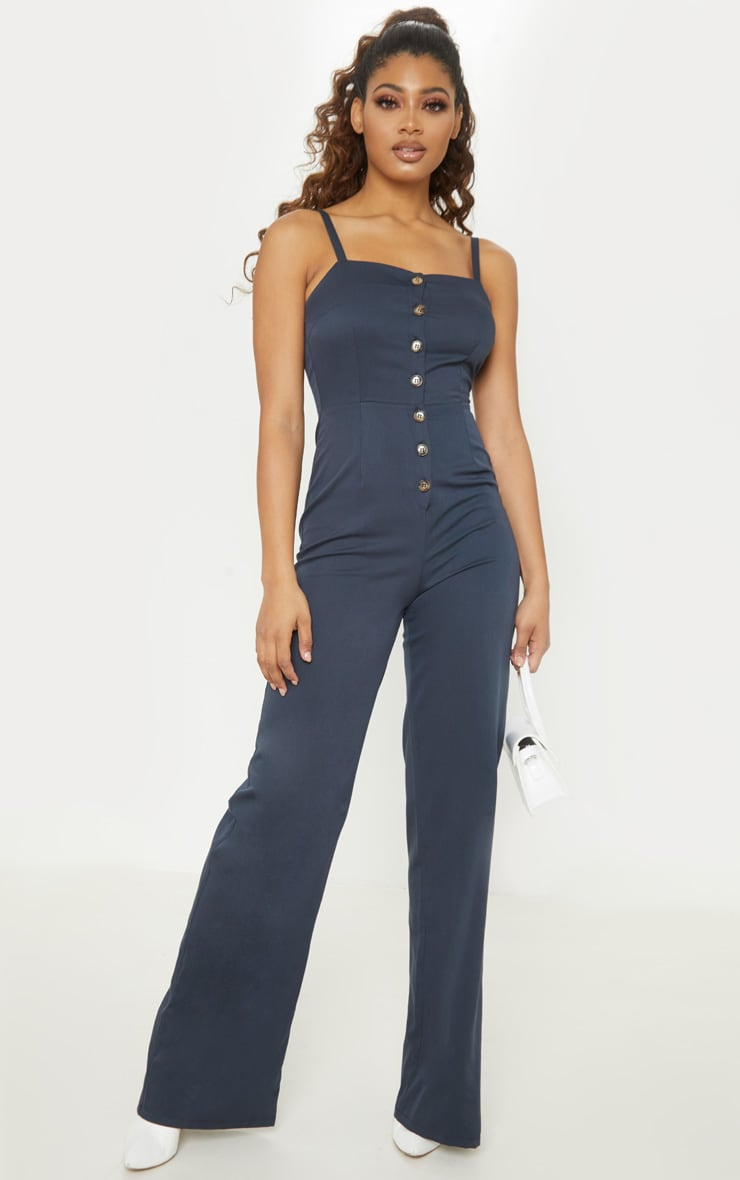 Tall Navy Strappy Button Front Wide Leg Jumpsuit 1