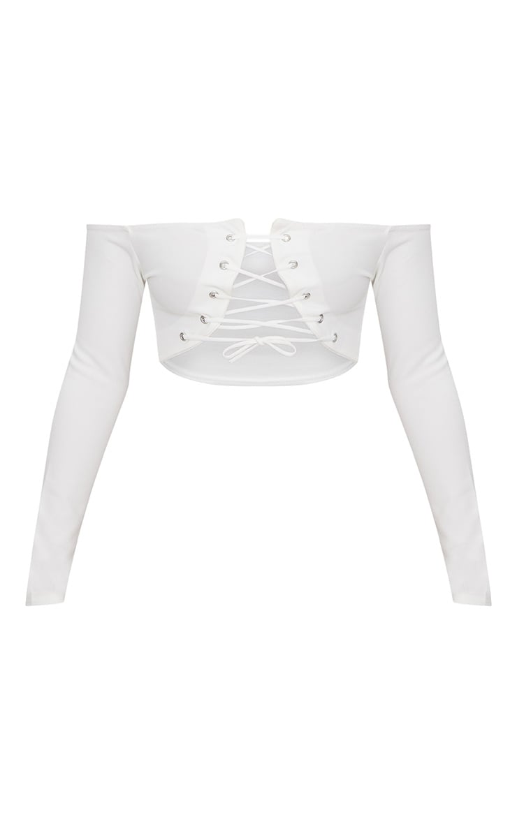 White Lace Up Front Crop Top  3
