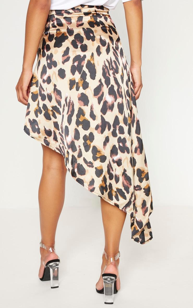 Leopard Print Satin Asymmetric Skirt 3