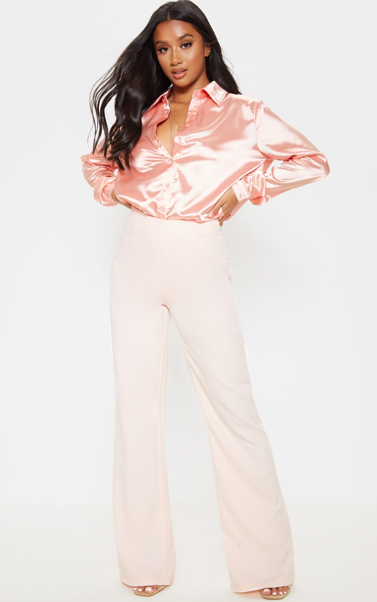 Petite Peach Satin Button Up Shirt 3