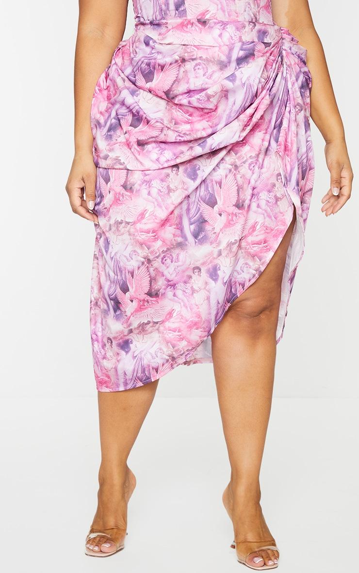 Plus Pink Rennaisance Print Ruched Side Midi Skirt 2