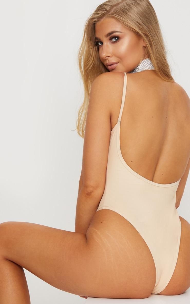 Premium- Maillot de bain une pièce nude avec harnais en strass 3