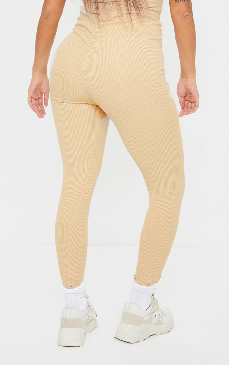 Shape Sand Textured Rib Ruched Bum Leggings 3
