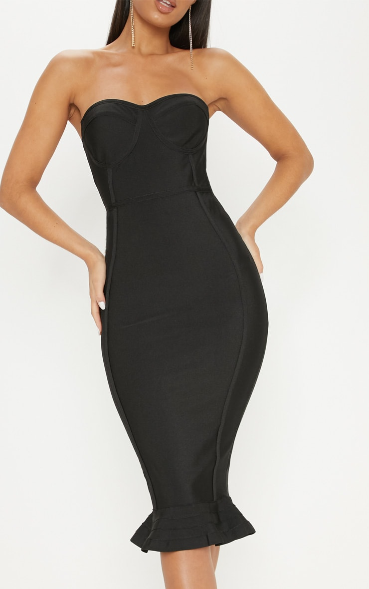Black Frill Hem Bandage Midi Dress 5