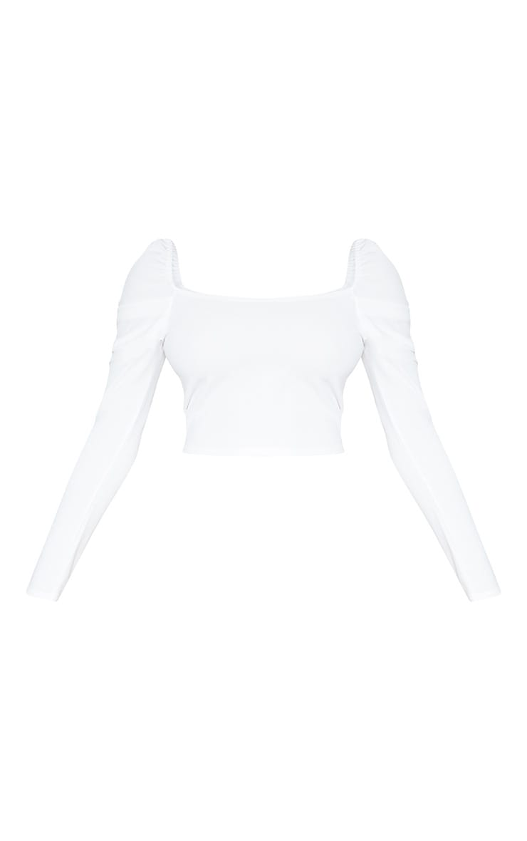 Tall White Square Neck Long Sleeve Crop Top  3