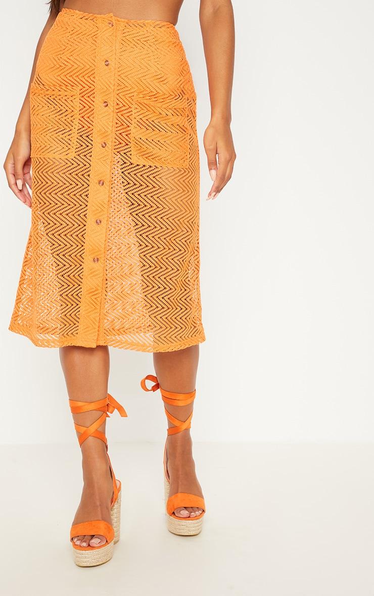 Orange Crochet Button Front Midi Skirt 2
