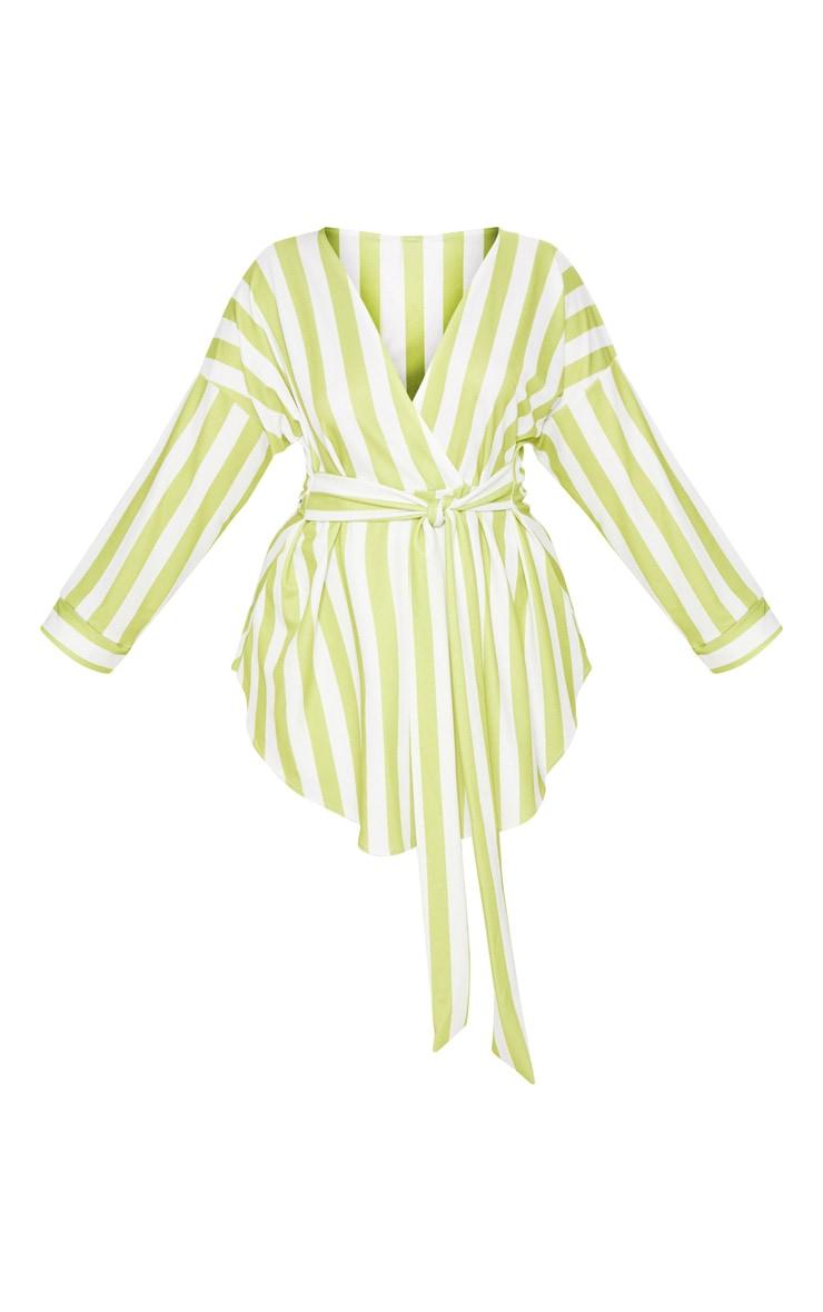 Plus Lime Striped Tie Waist Blouse 3